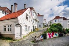 Casas de madeira em Bergen, Noruega Fotografia de Stock Royalty Free