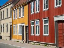 Casas de madeira em Trondheim, Noruega Fotos de Stock Royalty Free