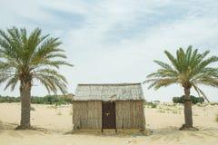 Casas de madeira pequenas árabes da vila do estilo antigo no deserto entre palmeiras Fotos de Stock