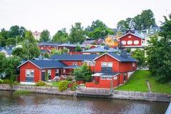 Casas de madeira vermelhas de Porvoo, Finlandia Imagem de Stock