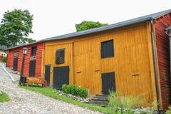 Casas de madeira vermelhas de Porvoo, Finlandia Imagens de Stock Royalty Free