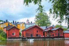 Casas de madeira vermelhas de Porvoo, Finlandia Imagem de Stock Royalty Free