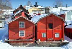 Casas de madeira vermelhas em Porvoo, Finlandia Fotos de Stock Royalty Free