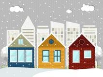 Casas de madera coloridas de Eco Tema del invierno Fotografía de archivo libre de regalías