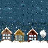 Casas de madera coloridas, tema del invierno Fotografía de archivo libre de regalías