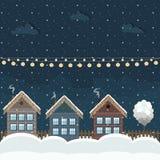 Casas de madera coloridas, tema del invierno Fotografía de archivo