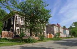Casas de madera en Tomsk Fotografía de archivo libre de regalías