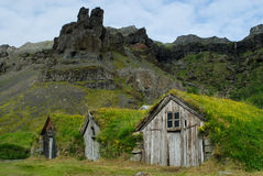 Casas de Nupstadur, Islandia Foto de archivo
