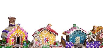 Casas de pão-de-espécie - isoladas no branco Fotos de Stock Royalty Free