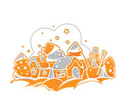 Casas de pan de jengibre de la Navidad libre illustration