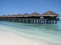 Casas de planta baja del agua - los Maldives Fotografía de archivo libre de regalías