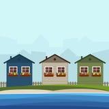 Casas de playa coloridas Concepto 6 de las propiedades inmobiliarias Imagen de archivo