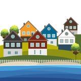 Casas de playa coloridas para el alquiler de la venta Concepto 6 de las propiedades inmobiliarias Imagenes de archivo