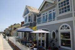 Casas de praia americanas na ilha do balboa, Condado de Orange - Califórnia Fotografia de Stock Royalty Free