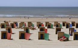Casas de praia na praia em Katwijk nos Países Baixos Fotos de Stock Royalty Free