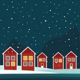 Casas de Rea And White Wooden Scandinavian Tema de la noche stock de ilustración
