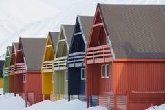 Casas de Residental em Longyearbyen, Spitsbergen (Svalbard) Norwa Foto de Stock Royalty Free