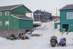 Casas de Residental en Longyearbyen, Spitsbergen (Svalbard) Norwa Fotografía de archivo