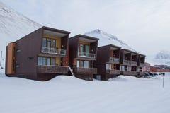 Casas de Residental en Longyearbyen, Spitsbergen (Svalbard) Norwa Fotografía de archivo libre de regalías