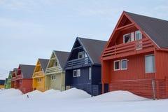 Casas de Residental en Longyearbyen, Spitsbergen (Svalbard) Norwa Foto de archivo libre de regalías