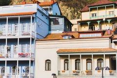 Casas de Tbilisi velho Fotos de Stock Royalty Free