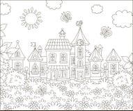 Casas de uma cidade pequena em um dia ensolarado ilustração royalty free