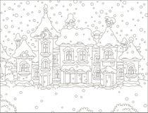 Casas de una pequeña ciudad en un día nevoso ilustración del vector