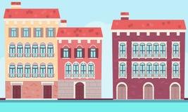 Casas de Veneza perto da água ilustração royalty free