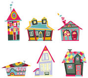 Casas decorativas stock de ilustración