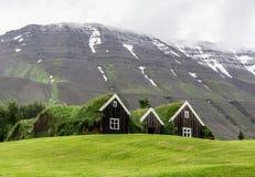 Casas del césped de la tierra en Islandia Fotos de archivo libres de regalías