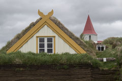 Casas del césped en Glaumbaer en Islandia Fotos de archivo libres de regalías