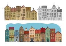 Casas del dibujo de la mano Imágenes de archivo libres de regalías
