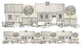 Casas del dibujo de la mano de la historieta Foto de archivo libre de regalías