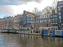 Casas del envase en el canal, Amsterdam, Holanda, Países Bajos fotos de archivo libres de regalías