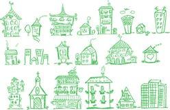 Casas del gráfico de la mano de la historieta, vector ilustración del vector