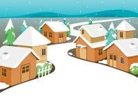 Casas del invierno cubiertas con nieve en ciudad libre illustration