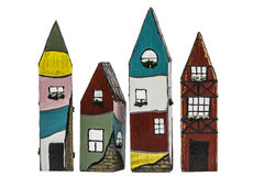 Casas del juguete, en el fondo blanco Fotografía de archivo libre de regalías