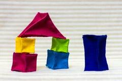 Casas del ladrillo del juguete Foto de archivo libre de regalías