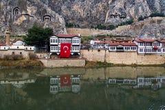 Casas del otomano en Amasya Imagen de archivo libre de regalías