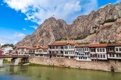 Casas del otomano en Amasya Foto de archivo libre de regalías