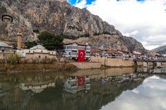 Casas del otomano en Amasya Fotografía de archivo libre de regalías