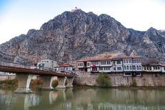 Casas del otomano en Amasya Imágenes de archivo libres de regalías