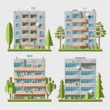 Casas del panel set2 plano Foto de archivo libre de regalías