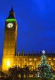 Casas del parlamento y del árbol de navidad Imágenes de archivo libres de regalías