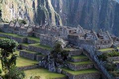 Casas del pichu de Machu Imagen de archivo libre de regalías