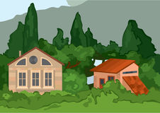 Casas del pueblo de la historieta con los árboles Imágenes de archivo libres de regalías