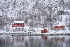 Casas del rorbu del Rd en Noruega en invierno imagen de archivo libre de regalías