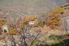 Casas del trabajo en Guijo imagenes de archivo