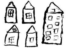 Casas del vector del Grunge ilustración del vector