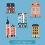 Casas del vintage del viejo estilo fijadas Ciudad de la ciudad Imagen de archivo libre de regalías